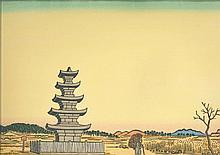 Un'ichi Hiratsuka (1895-1997): Ensemble de trois oban et dai oban yoko-e représentant des vues de paysages champêtres
