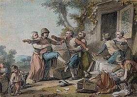 Jacques Philippe CARESME (Paris 1734 - 1796) La Rixe villageoise