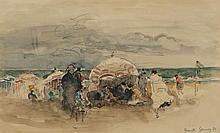 Paul Elie GERNEZ (1888-1948) Deauville Aquarelle, signée, située et datée 1934 21,5 × 35,5 cm Cette oeuvre est répertoriée dans les ...