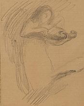 Eugène CARRIÈRE (1849-1906) Femme au violon Dessin au fusain sur papier ligné 21,5 × 17 cm