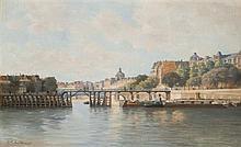 C.T. GUILLERMOT (né en 1880) Paris, la Seine et l'Estacade Huile sur toile signée en bas à gauche 38,5 × 61 cm (Rentoilée, nombreuse..