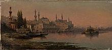 École du XIXe siècle Vue d'un port d'Orient Huile sur toile, porte une signature non déchiffrée en bas à gauche et une étiquette au .