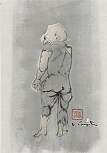 Léonard Tsuguharu FOUJITA (1886-1968) Homme de dos Encre, lavis d'encre et aquarelle sur papier signé en bas à droite, porte le cach...