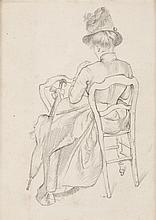 Henri Edmond CROSS (1856-1910) Femme assise de dos Dessin à la mine de plomb, signé du cachet des initiales en bas à droite 23 x 17 ...