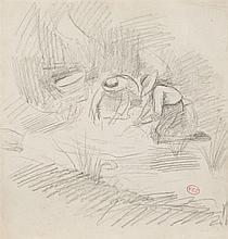 Henri Edmond CROSS (1856-1910) Les lavandières Esquisse au crayon, signée du cachet des initiales en bas à droite 24,5 x 23 cm