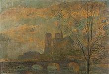Albert Marie LEBOURG (1849-1928) L'abside de Notre Dame de Paris Huile sur toile signée en bas à gauche 50 x 73 cm Cette oeuvre est ..