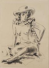 André DIGNIMONT (1891-1965) Modèle assis Dessin au lavis, signé en bas à droite et dédicacé 61 x 43 cm
