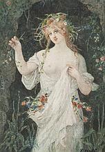 Lucien VÉRITÉ (1866-1926) Flore Aquarelle, signée en bas à droite 29,5 x 20,5 cm