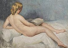 Léon GALAND (1872-1960) La liseuse nue Huile sur toile signée en bas à gauche 33 x 46 cm