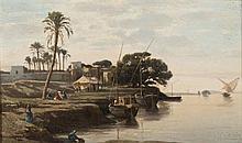 École orientaliste Bord de Nil Huile sur panneau, porte une trace de signature en bas à gauche 26 x 43,5 cm (Rétractations de matièr...