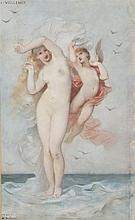 André Charles VOILLEMOT (1822 / 23-1893) Vénus sortie des eaux et Amour Aquarelle, signée en bas à gauche et dédicacée