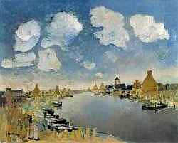 ALBERT SAVERIJS (1886-1964) - Paysage de la Lys