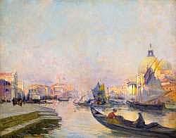 RAYMOND ALLÈGRE (1857-1933) - Venise, Gondoles sur
