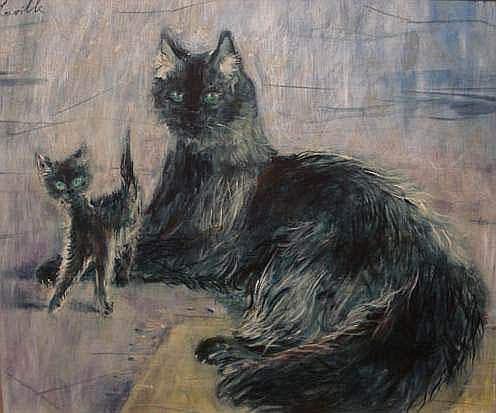 LAVILLE Henri ( né en 1916) - Chats, février 82