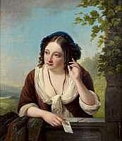 Jean Henri de COENE - Jeune femme tenant une