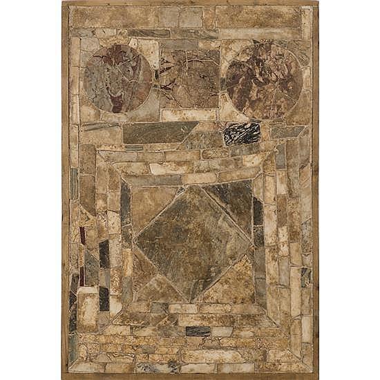 Panneau (Plan de table) composé de diffrentsmarbres antiques formant des fiures