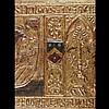 Panneau de cassone a pastiglia polychroméet doré. Relief modelé en gesso à décor d'un
