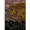 Boîte à herbes médicinales en bois polychromede forme ovale avec couvercle à décor de cygnes