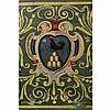 Deux coffets en bois polychrome à décor derinceaux feuillagés jaunes sur fond vert, l''un