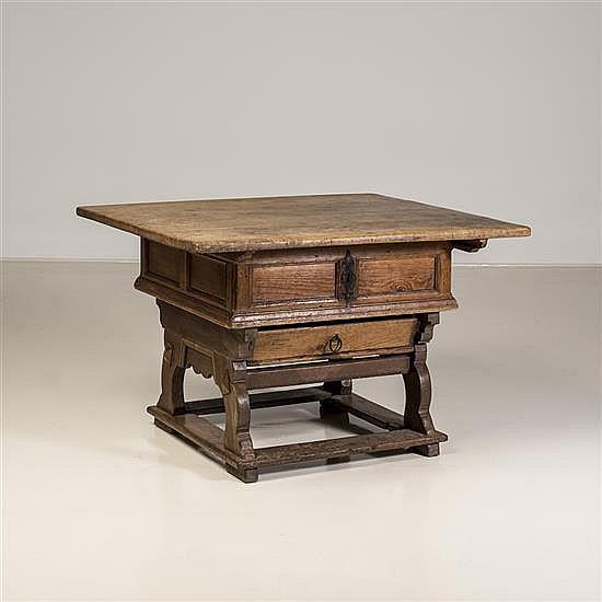 Table de changeur en bois de résineux et chêneouvrant par un plateau débordant coulissant