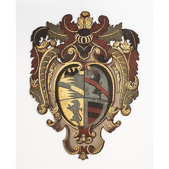 Grand écu en bois polychromé fiurant lesquartiers de noblesse de Domenico di Fabio