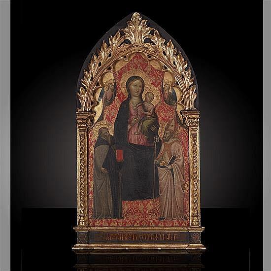 Bicci di lorEnzo (Florence 1373 - 1452)La Vierge et l'Enfant en trône entre deux Anges