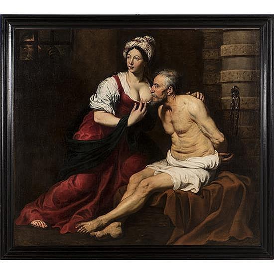 attribué à pieter Van mol (1599 - 1650)La Charité romaine