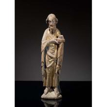 Saint Jean-Baptiste en tilleul sculpté, doréet polychromé, dos creusé. Debout, il porte