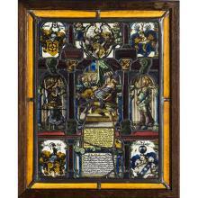 Lot de huit vitraux polychromes-Scène avec une sainte couronnée, inscription WILHELMVS KREB SIGER CANONICVS BERONENSIS ANNO A.P.V. M...