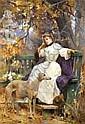 Auguste PINCHART - Jeune femme pensive au lévrier, Auguste Pinchart, Click for value