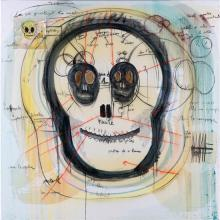 Fabrice Hyber (born 1931) Skull Head, 2010 Oil, charcoal, collage on paper and epoxy resin on canvas Signed, dated, titled and noted...