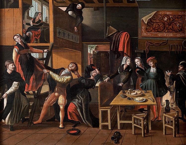 Attribué à Jan van AMSTEL (Vers 1500-1544) Scène de cabaret