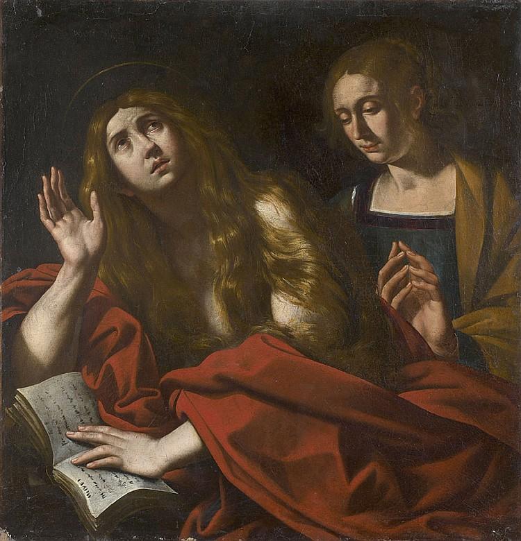 Antiveduto GRAMATICA (Sienne 1571-Rome 1626) Marie-Madeleine pénitente avec sa sœur Marthe