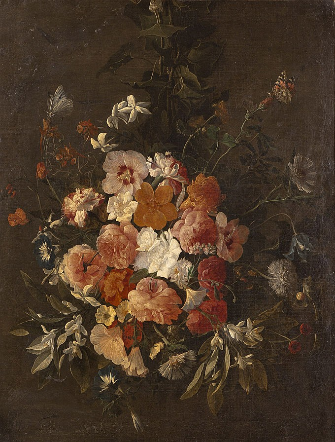 Hieronymus GALLE (Anvers 1625-après 1679) Bouquet de fleurs suspendu aux papillons Toile 75 x 57 cm Signé et daté en bas à gauche Hier