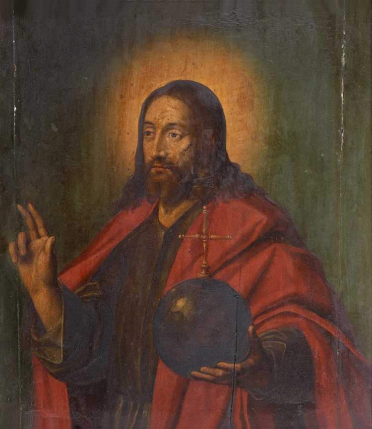 École FLAMANDE vers 1600 Le Christ bénissant