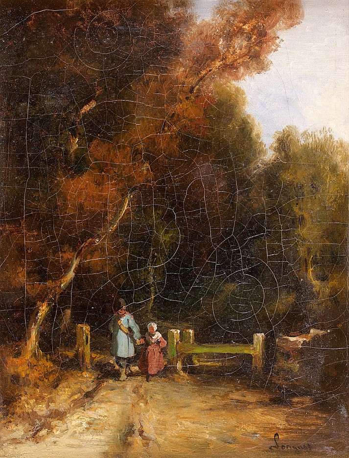 Alexandre Marie LONGUET (?1805-?1851) La Promenade des enfants