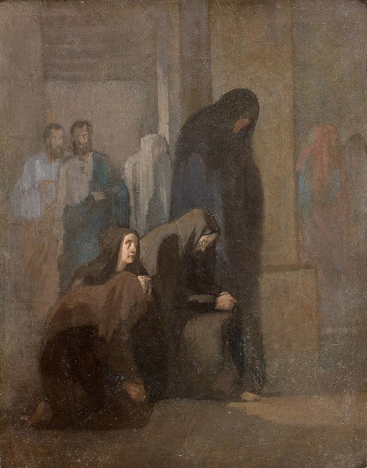 Paul DELAROCHE (Paris 1797-1856) Les Saintes Femmes au tombeau Toile  41,5 x 33 cm Étiquette au revers de la toile Je reconnais avoi...