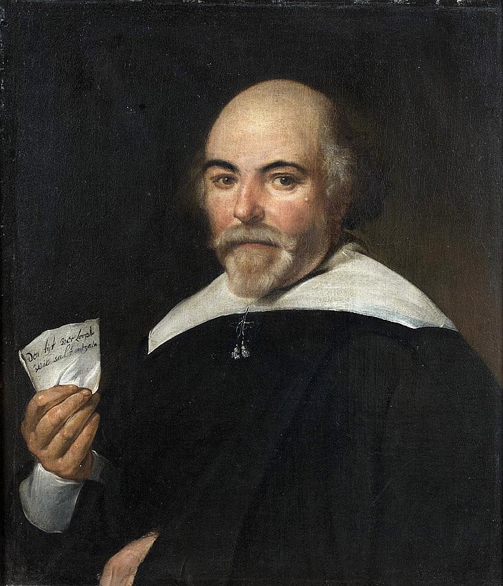 École HOLLANDAISE vers 1640 Portrait d'homme tenant une lettre évoquant la vanité humaine