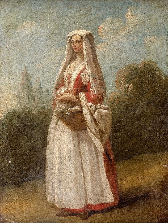Attribué à Nicolas VLEUGHELS (1668-1737) Jeune Frascatane dans un paysage  Sur sa toile d'origine et son châssis d'origine  32,5 x 2.