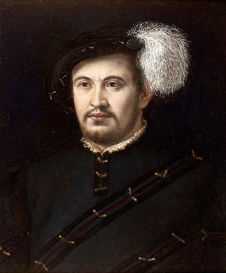 Attribué à Niccolò dell'ABBATE (1512-1571) Portrait d'homme au béret à plume