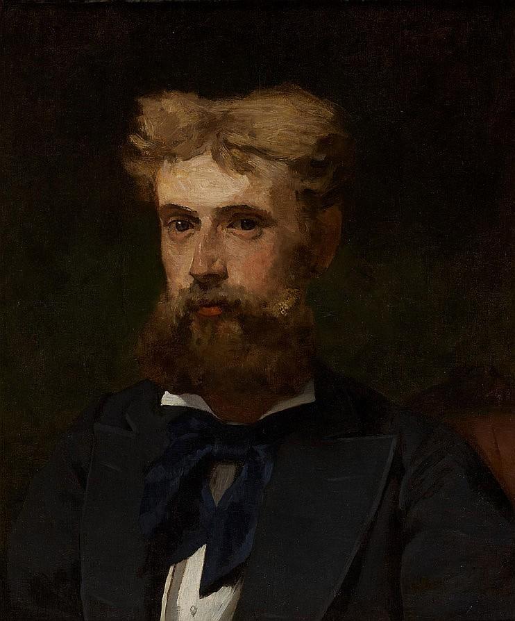Henri Alexandre Georges REGNAULT (Paris 1843-1871) Portrait d'homme Toile  54,5 x 46 cm Signée et trace de signature en bas à droite..