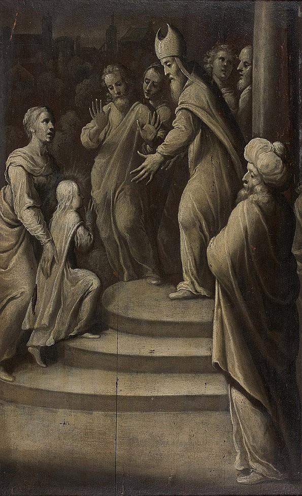 École FRANÇAISE du XVIIe siècle, entourage de Jean de SAINT IGNY Présentation de la Vierge au temple, grisaille