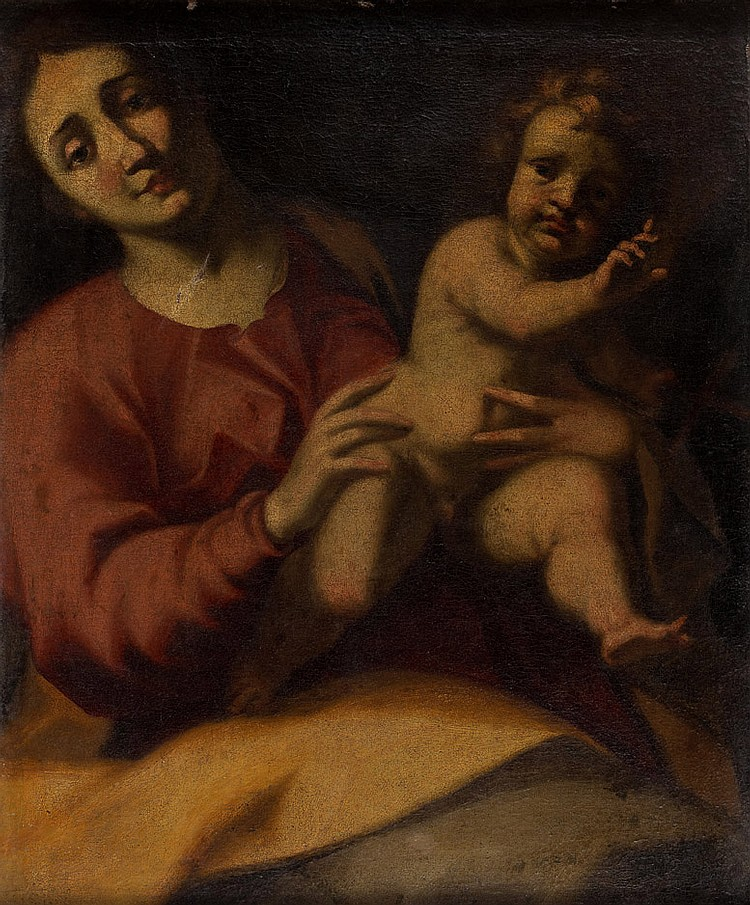 École de PARME vers 1620, entourage de Giovanni LANFRANCO Vierge à l'Enfant