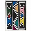 Ester Mahlangu Sans titre, 2001 Huile sur panneau 65 x 95 cm, Esther Mahlangu, Click for value