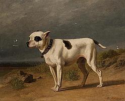 """Edmond Jean Baptiste TSCHAGGENY (1818-1873) - Portrait de chien sur la plage, 1870 Huile sur panneau, signée et datée """"1870"""" en bas..."""