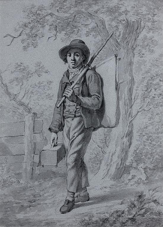 Anicet-Charles-Gabriel LEMONNIER (Rouen 1743-Paris 1824) Jeune savoyard : le montreur de marmottes Crayon noir, lavis gris et re...