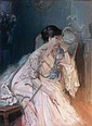 Delphin ENJOLRAS (1857-1945) Jeune femme pensive à l'éventail, assise Pastel