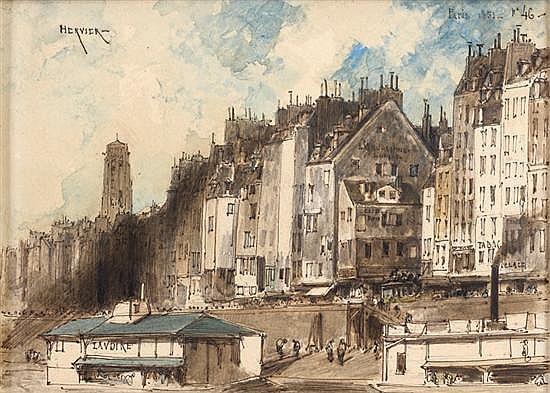 Louis-Adolphe HERVIER (Paris 1818-1879) Vue de Paris : la TourSaint-Jacques et les bords de Seine Plume et encre brune, aquarell...