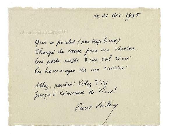 Paul VALERY (1871-1945). 6 L.A.S. et 7 cartes a.s.