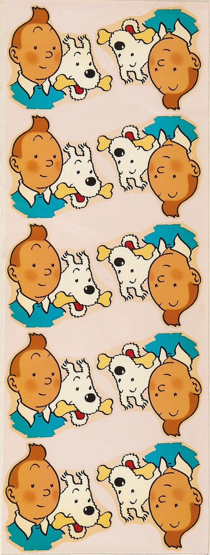 Décalcomanies Tintin. Collection de 4 feuillets dans les années 1950.